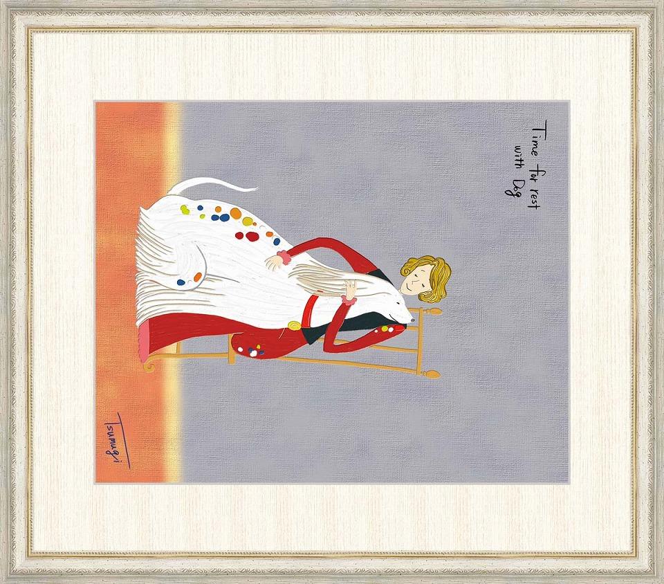 最大80%オフ! 山田つむぎ 「深い愛情」 F8号(額外寸64x56cm) 高精彩工芸画+手彩入り 額付き 複製画 人物画 おしゃれな女性と大きな白い犬 アフガンハウンド, e-お布団屋 5593f39f