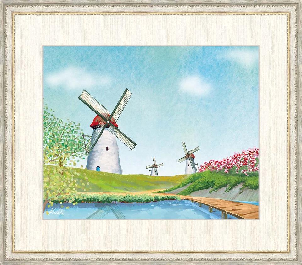 大人気新作 青木奏 「花咲く丘と風車」 F8号(額外寸64x56cm) 高精彩工芸画+手彩入り 額付き 複製画 風景画 オランダの風車 ヨーロッパ, 食喜屋 93f629fc