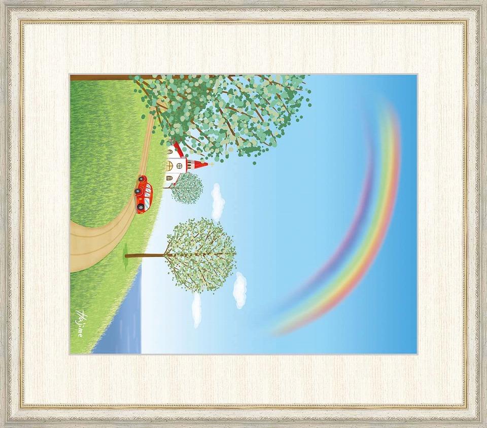 【お気にいる】 喜多一 「教会のある丘」 F8号(額外寸64x56cm) 高精彩工芸画+手彩入り 額付き 複製画 風景画 パステル色 ファンタジー おしゃれ タテ長の絵, プレミアムギア 5149b23c