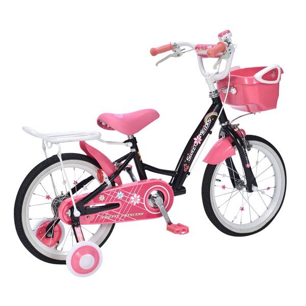【送料無料!!】MyPallas(マイパラス) 16インチ子供用自転車 MD-12-BK (ブラック) 補助輪付花柄 ハート 女児 女の子