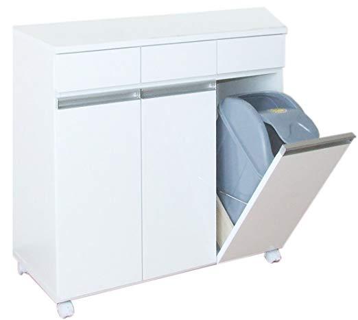 キッチンやリビングダイニングに!3種類に分別できる便利なゴミ箱。蓋付きで衛生的なごみ箱です。おしゃれなキッチンカウンターとしても役立ちます ダイニングダストボックス 3D ホワイト お洒落なカウンター型 キャスター付 クロシオ 【送料無料】