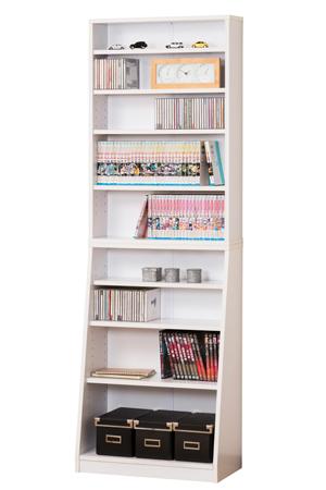 SOHO書棚 W60 ホワイト本棚 ラック シェルフ 幅60 文庫本 コミック CD DVD 収納 クロシオ 組立家具の日企画