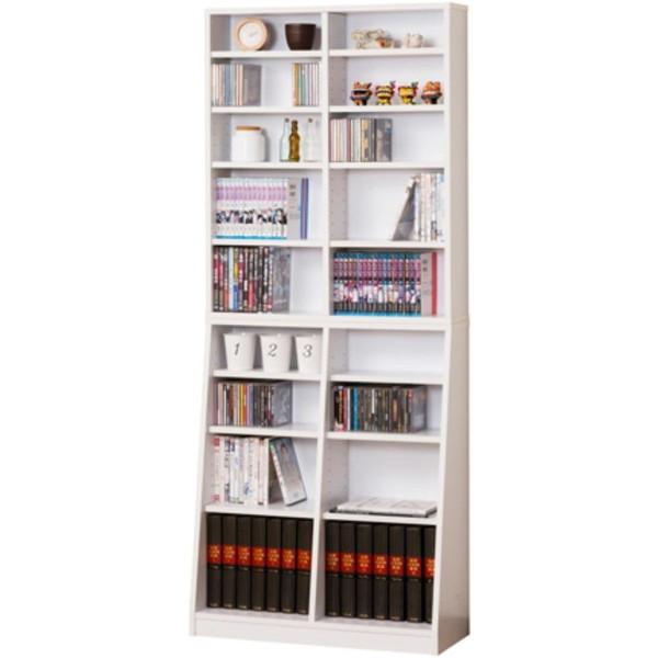 【送料無料】SOHO書棚 W75 ホワイト本棚 ラック シェルフ 幅75 文庫本 コミック CD DVD 収納 クロシオ 組立家具の日企画
