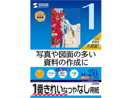 納期約4日 税込3000円以上で送料無料 入荷予定 サンワサプライ IJ用スーパーファイン用紙 A4 JP-EM5NA4-250 登場大人気アイテム 250枚
