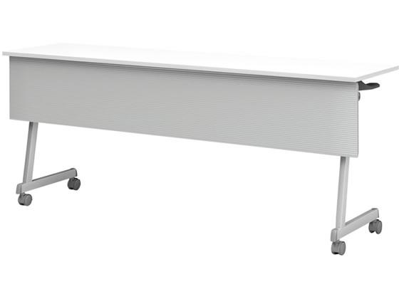 アイリスチトセ/フォールディングテーブルFT89Z脚 幕付・棚付W1800 ホワイト