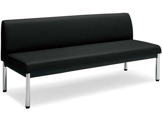 コクヨ/150アームレスチェアー 丸ステンレス脚 ローバック W1500 ブラック