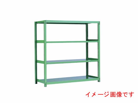 原田/スチール棚 中量5M 天地4段 単体 グリーン/5MS-7545-4