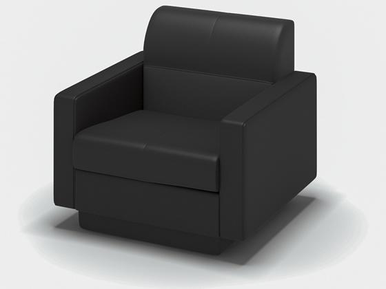 コクヨ/応接イス オルセー1 アームチェアー 混合革 W710 ブラック
