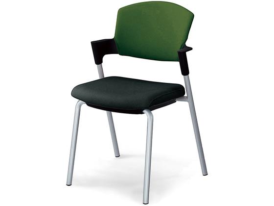 コクヨ/プロッティ 肘付 固定脚 総張り 背座別色オリーブグリーン