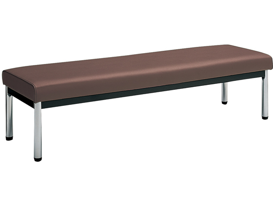 コクヨ/150アームレスチェアー角メッキ脚背なし W1500×D460ダークブラウン