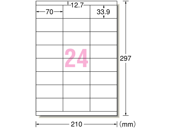 エーワン/レーザー用ラベルA4 24面上下余白 1000枚/31163
