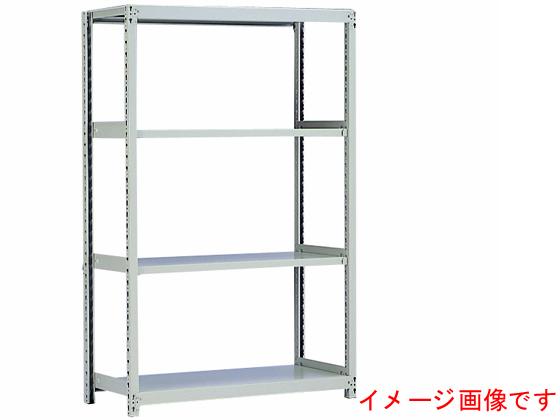 原田鋼業/スチール棚 中軽量 天地4段 単体 アイボリー