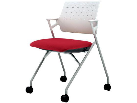 コクヨ/ピエガ 背樹脂 ホワイトシェル 塗装脚 カーマイン(W)