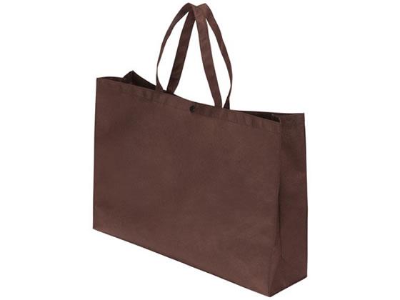 サンナップ/不織布バッグ 横長ボタン付 中 ブラウン10枚×10パック