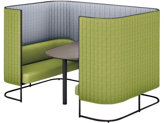 品質が完璧 コクヨ/インフレーム ソファーブース4人用H1350天板灰茶フレーム黒グリーン, streamplus 7c95ea68