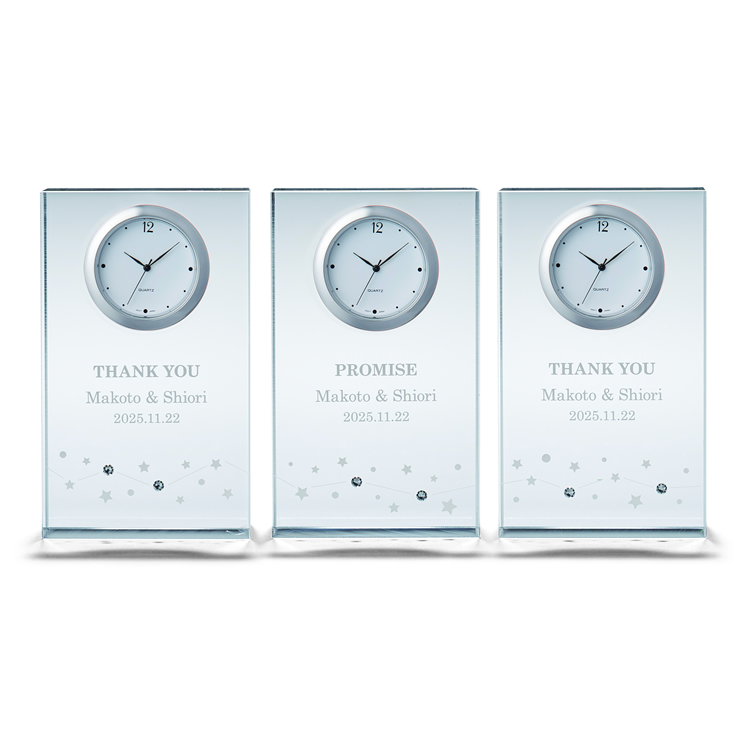 ペルメール・ザ・クリスタル 繋がる星の輝き時計3連時計 三連時計 両親贈呈 花束贈呈 記念品 結婚式 ウェディング ブライダル