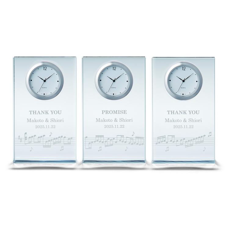 ペルメール・ザ・クリスタル ハーモニークロック ~家族三住奏~3連時計 三連時計 両親贈呈 花束贈呈 記念品 結婚式 ウェディング ブライダル