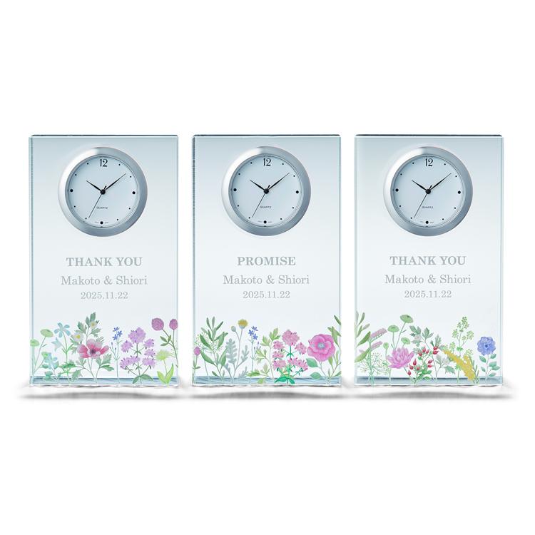 ペルメール・ザ・クリスタル エタニティ フラワークロック3連時計 三連時計 両親贈呈 花束贈呈 記念品 結婚式 ウェディング ブライダル