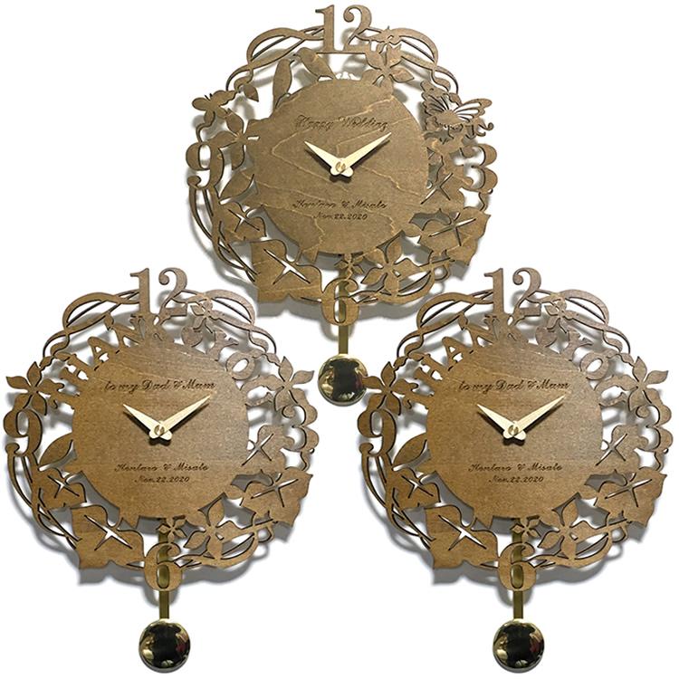 3連時計 THANK YOU ウォールクロックWOOD 振り子タイプ ライトブラウン 【名入れ】両親贈呈品 記念品 プレゼント ブライダル ウェディング 結婚式 花束贈呈 三連時計