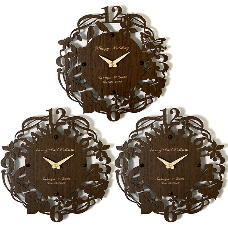 3連時計 THANK YOU ウォールクロック ウォルナット 【名入れ】両親贈呈品 記念品 プレゼント ブライダル ウェディング 結婚式 花束贈呈 三連時計