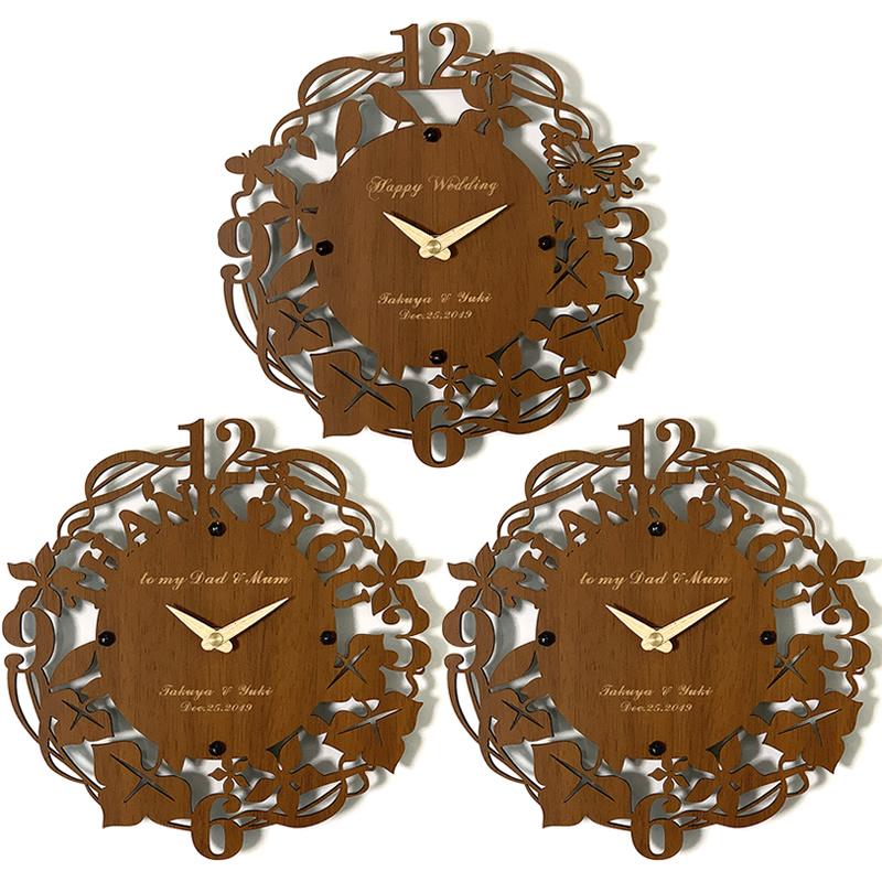 3連時計 THANK YOU ウォールクロック オーク 【名入れ】両親贈呈品 記念品 プレゼント ブライダル ウェディング 結婚式 花束贈呈 三連時計