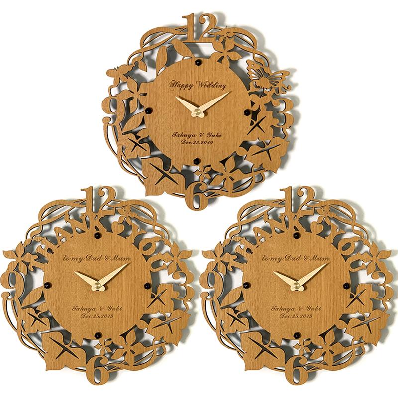 3連時計 THANK YOU ウォールクロック メイプル 【名入れ】両親贈呈品 記念品 プレゼント ブライダル ウェディング 結婚式 花束贈呈 三連時計