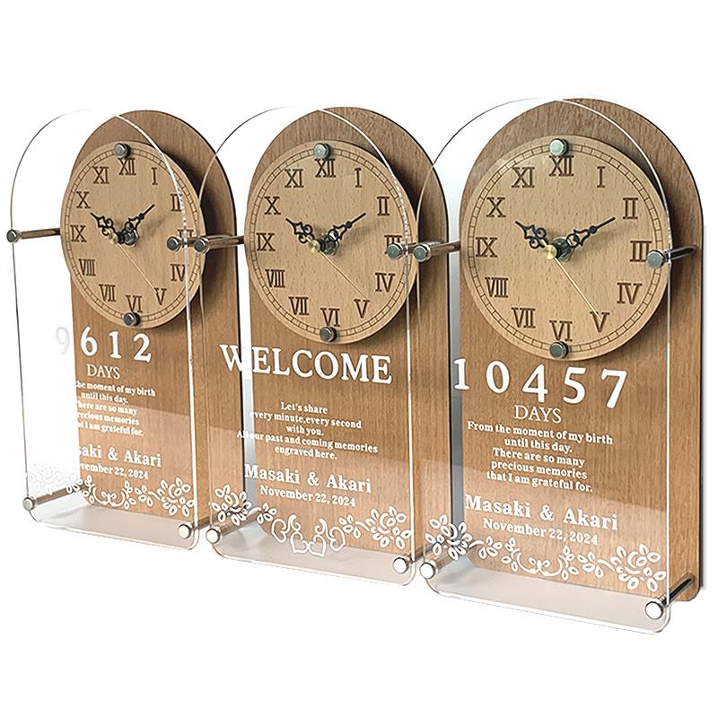 両親贈呈品 記念品 結婚式 披露宴 名入れ 贈り物 プレゼント 卓出 業界No.1 贈呈用 TSUNAGU 3つの時計 三つの時計 送料無料 メイプル ボタニカル 繋がるデザイン