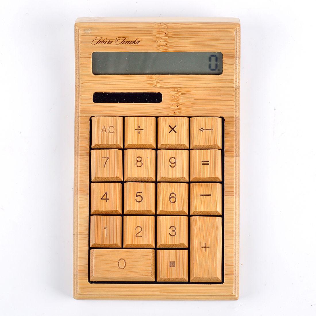 楽天市場 lifesign名入れ無料 生活用品 竹製ソーラー式計算機 電卓 b