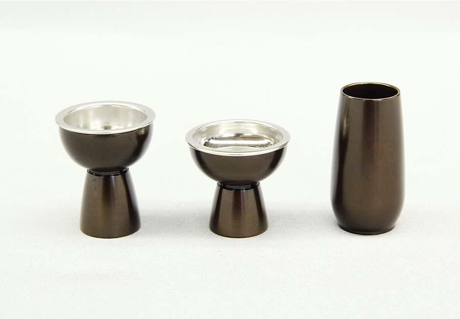 upる(あっぷる)型仏器・茶湯器・線香立セット 宣徳色 小