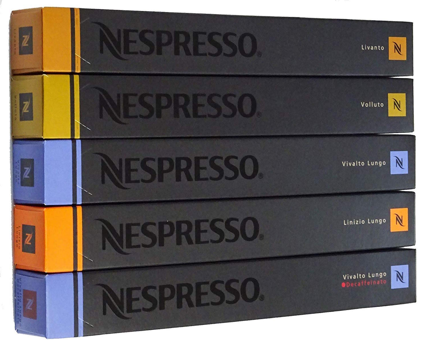 Nespresso ネスプレッソ カプセル マイルド タイプ 5種 1本 10個入 カプセル x 5本 合計 50 カプセル リヴァント ヴォリュート ヴィヴァルト・ルンゴ リニツィオ・ルンゴ ヴィヴァルト・ルンゴ・デカフェ セット 詰め合わせ