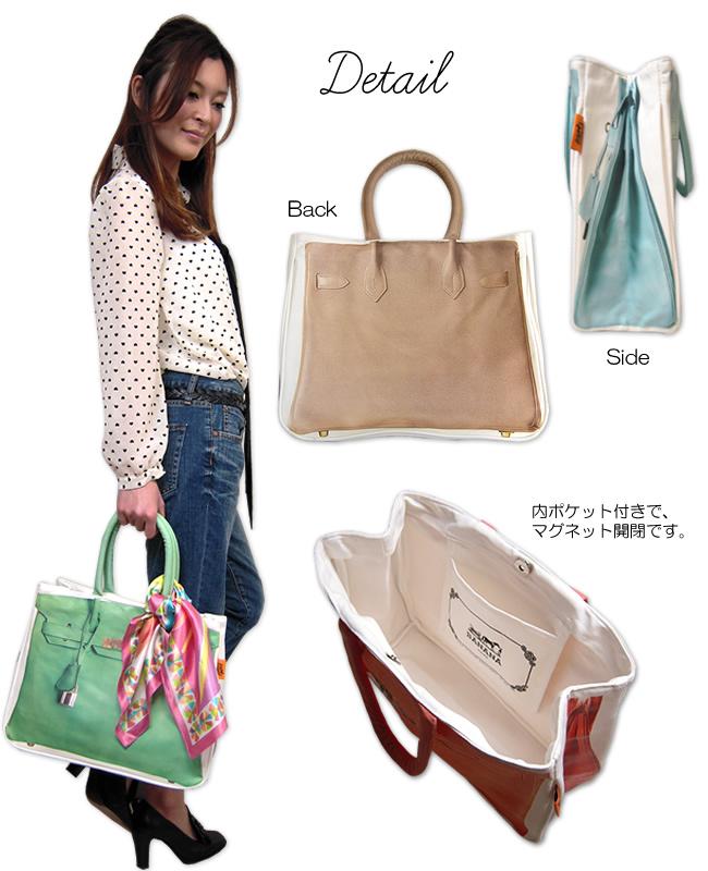 -Sale-(non) * handles Ribbon no * geki Kawa print bag. commuting and going to school.