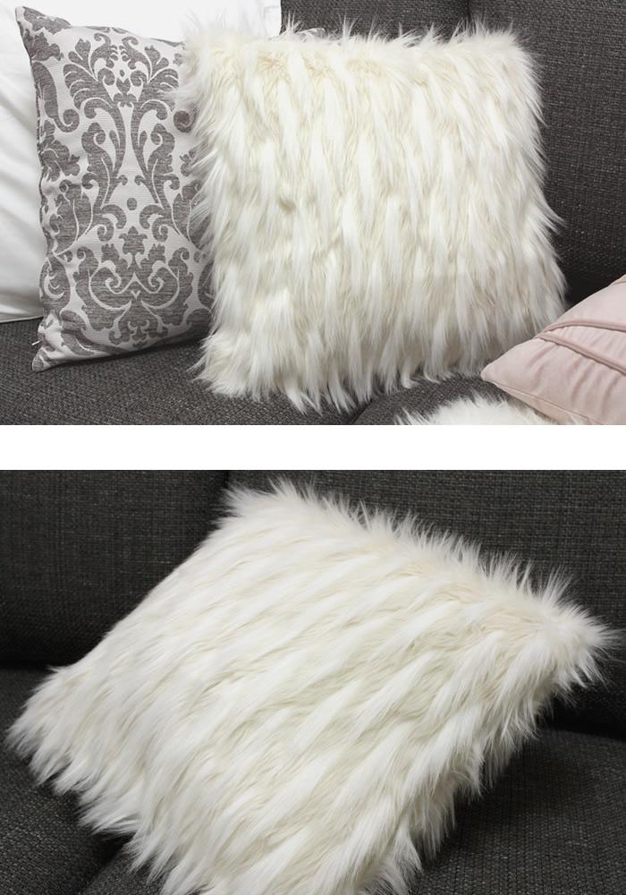【アクセントファークッションカバー(45cm×45cm)】ふわふわとしたファーが上品なクッションカバー。 クッションカバー 45×45cm おしゃれ ファー 北欧