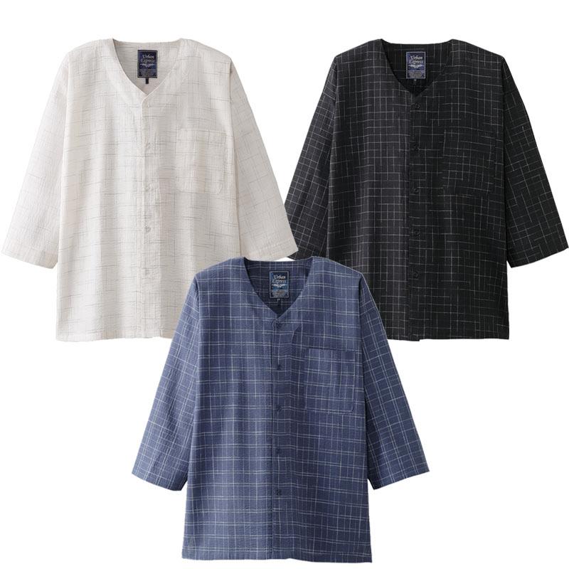 紳士 シニア向け 春 夏 ■綿100% ゆったり7分袖シャツ 3色組 取寄せ