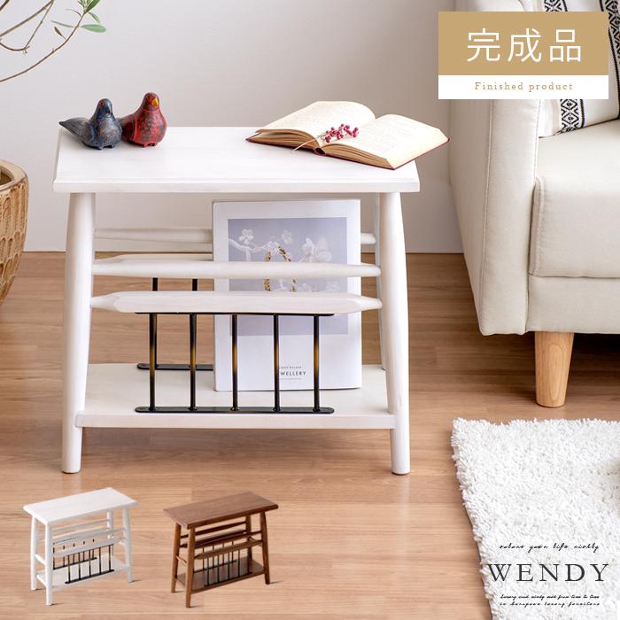 サイドテーブル おしゃれ 北欧 収納 木製 ソファーサイドテーブル ベッドサイドテーブル スリム ナイトテーブル ミニテーブル コーヒーテーブル シンプル モダン アンティーク 白 ホワイト ブラウン サイドテーブル WENDY(ウェンディ)