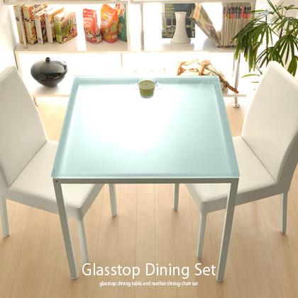 ダイニングテーブルセット 2人掛け 3点 ダイニングセット 北欧 ガラス 白 ホワイト ダイニング3点セット 75cm幅 正方形 ダイニングテーブルセット モダン シンプル|ダイニングテーブル テーブル セット ダイニングチェア ダイニング テーブルセット おしゃれ デザイン 2人用