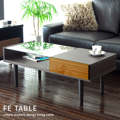 テーブル センターテーブル ガラステーブル リビングテーブル かわいい おしゃれ 北欧 モダン 木製 アルダー ガラス製 table 机 FE TABLE 〔フィー〕 ダークブラウン(インテリア リビング ダイニング 生活雑貨 収納 コーヒーテーブル 木製テーブル)