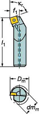 【代引不可】サンドビック コロターン107 ポジチップ用ボーリングバイト(1本) A20SSSKCR09 6025145