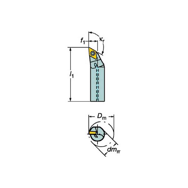 サンドビック コロターン107 ポジチップ用ボーリングバイト(1個) A20SSDXCR11 6068464