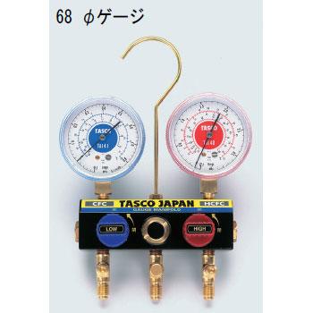 TASCO(タスコ):R22、R12、R502 ボールバルブ付ゲージマニホールド(サイドグラス付) TA120K
