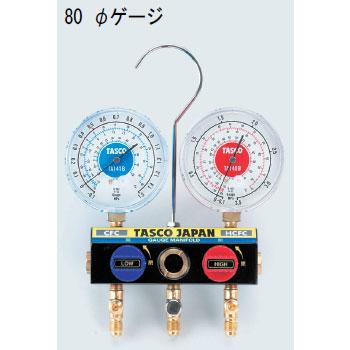TASCO(タスコ):R22、R12、R502 ボールバルブ付ゲージマニホールド(サイドグラス付) TA120W