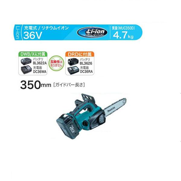 makita(マキタ):350ミリ 充電式チェンソー MUC350DWB
