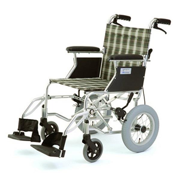 【代引不可】MIWA:車椅子 HTB-12 チェックグリーン 11856