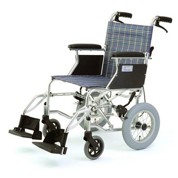 【代引不可】MIWA:車椅子 HTB-12 チェックブルー 11857