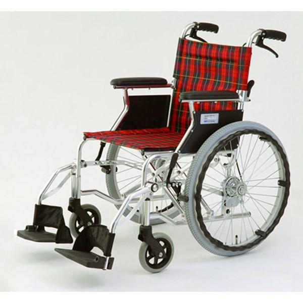 【代引不可】MIWA:車椅子 HTB-20D チェックレッド 11861