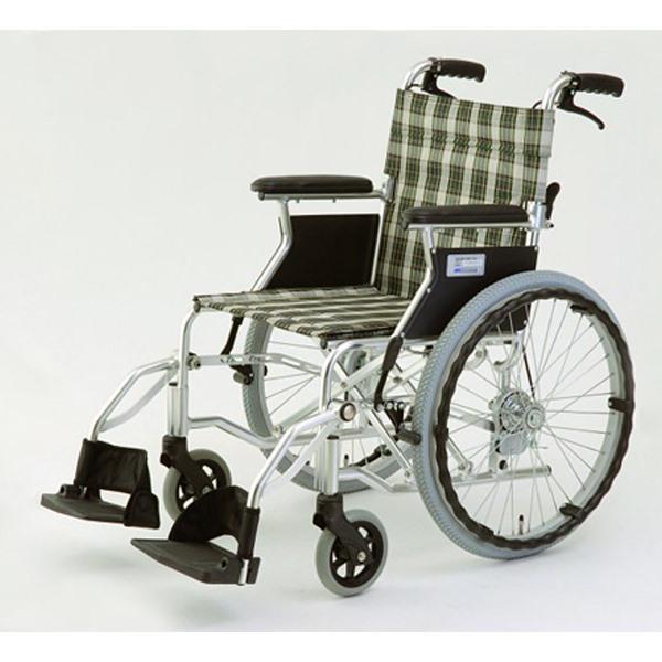 【代引不可】MIWA:車椅子 HTB-20D チェックグリーン 11862