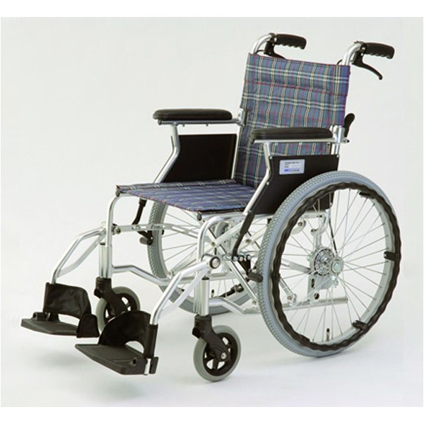 【代引不可】MIWA:車椅子 HTB-20D チェックブルー 11863