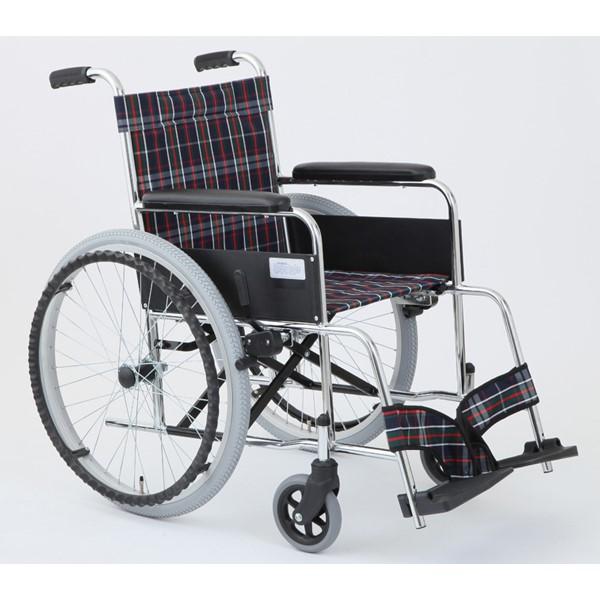 【代引不可】MIWA:車椅子 MW-22ST-CNV チェックブルー 11873
