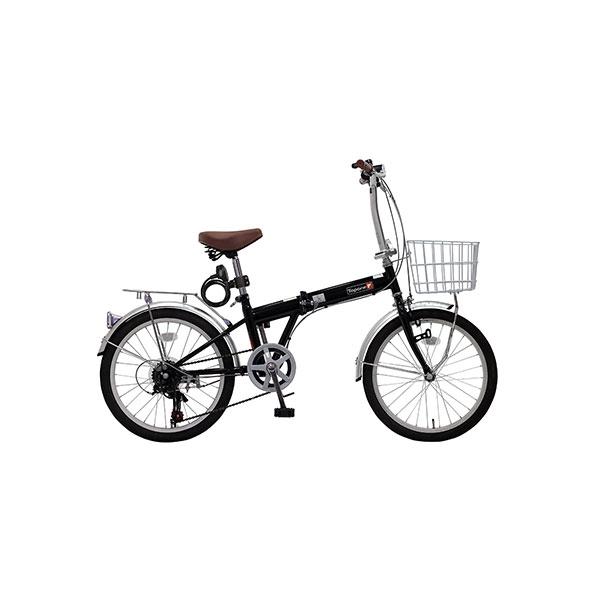 【代引不可】TOP ONE(トップワン):20インチ折畳み自転車 シマノ外装6段ギア・前カゴ・カギ・ライト付 ブラック KGK206LL-09-BK