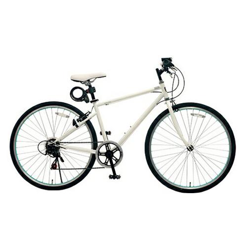 【代引不可】【法人限定】TOP ONE(トップワン):26インチシティクロスバイク シマノ外装6段ギア・カギ・ライト付 ホワイト MCR266-29-WH