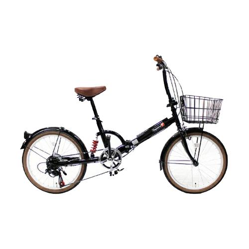 【代引不可】TOP ONE(トップワン):20インチ折畳み自転車 シマノ外装6段ギア・リアサスペンション・前カゴ・カギ・ライト付 ブラック FS206LL-37-BK